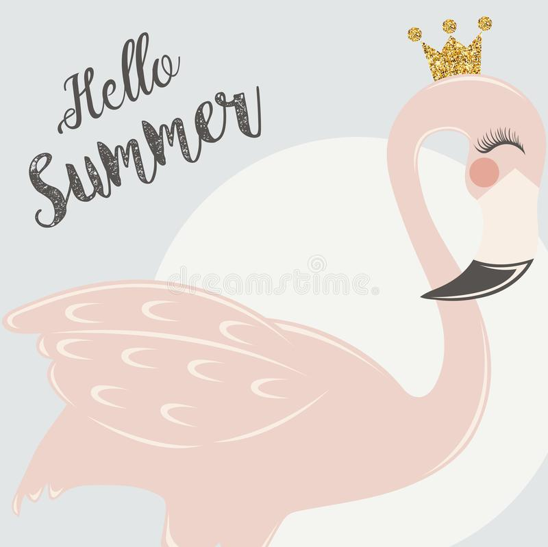 Cute Pink flamingo. With tropical leaves, pineaplle and flowers royalty free illustration