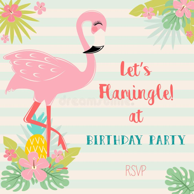 Cute Pink flamingo. With tropical leaves, pineaplle and flowers vector illustration