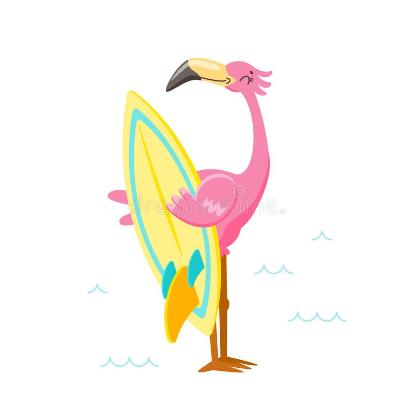 Free Cute Pink Flamingo With Surf Board On Beach. Cartoon Character On Summer Vacation. Kawaii Personage Summertime Stock Photography - 185957212
