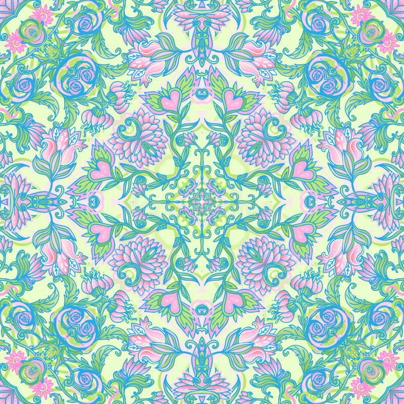 Cute pink floral seamless pattern stock illustration