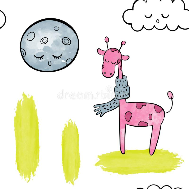 Cute pink giraffe . Vector watercolor seamless pattern. Vector watercolor seamless pattern. pink giraffe vector illustration