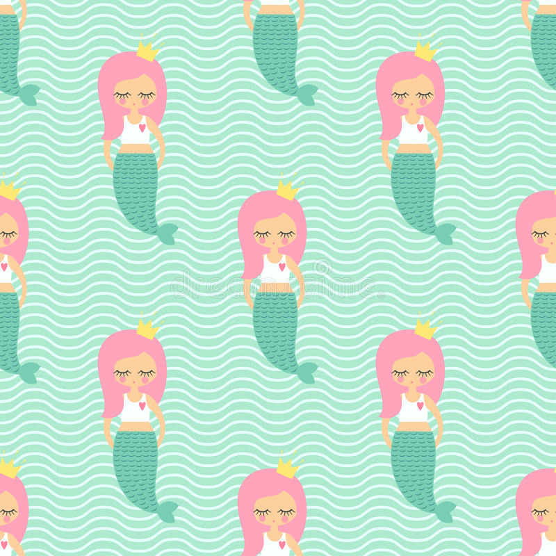 Cute pink hair mermaid girl seamless pattern on mint green waves background. vector illustration