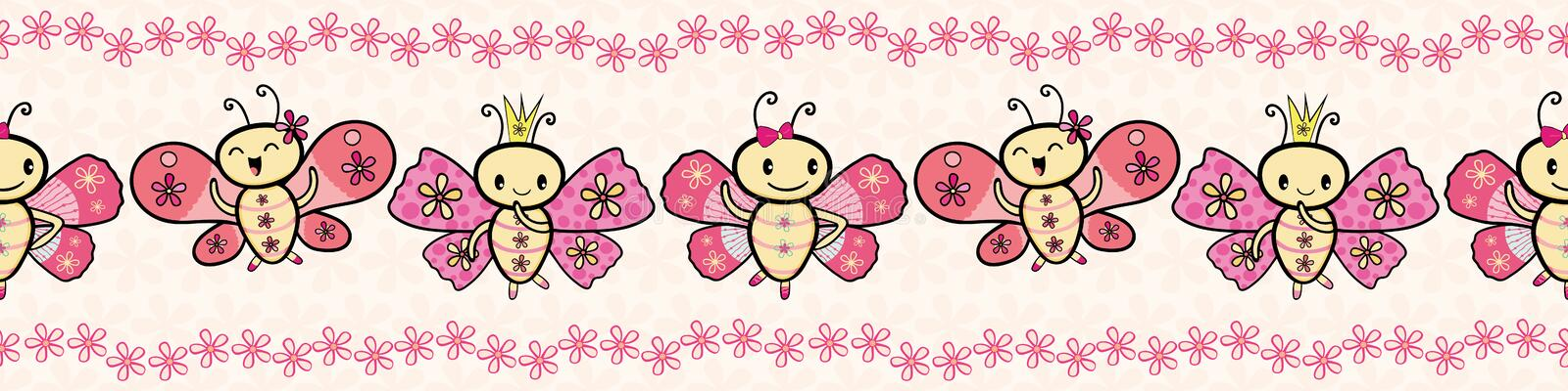 Cute pink hand drawn Kawaii style dancing butterflies border with floral edging. Seamless vector pattern on cream flower vector illustration