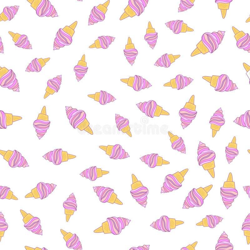 Cute Colorful Ice Cream Seamless Pattern Background: Icecream Seamless Pattern Stock Illustration. Illustration
