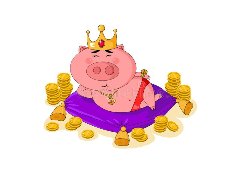 Cute pink king piggy with gold crown and coins around, lying on the violet pillow. vector illustration