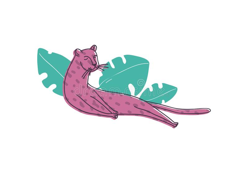 Cute pink leopard lying near green tropical leaves. Large cat with spotted body. Wild animal. Hand drawn vector design vector illustration