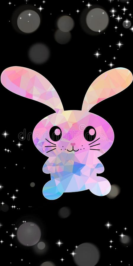 Cute pink and light blue bunny rabbit vector with black dark background with stary stars on black bokeh for wallpaper prints. Cute pink and light blue bunny royalty free stock photography