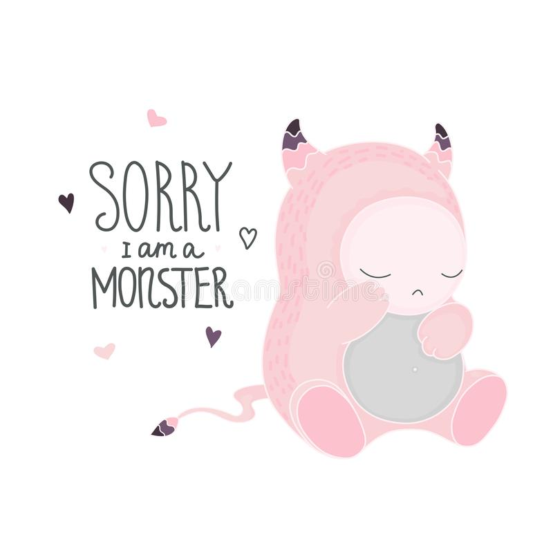 Cute pink monster vector vector illustration