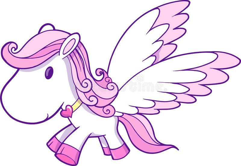 Download Cute Pink Pegasus Vector stock vector. Illustration of mare - 9205541