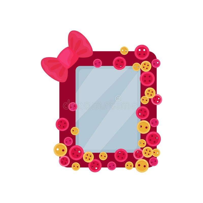 Cute pink photo frame with bow and buttons, album template for kids with space for photo or text, card, picture frame. Vector Illustration isolated on a white stock illustration