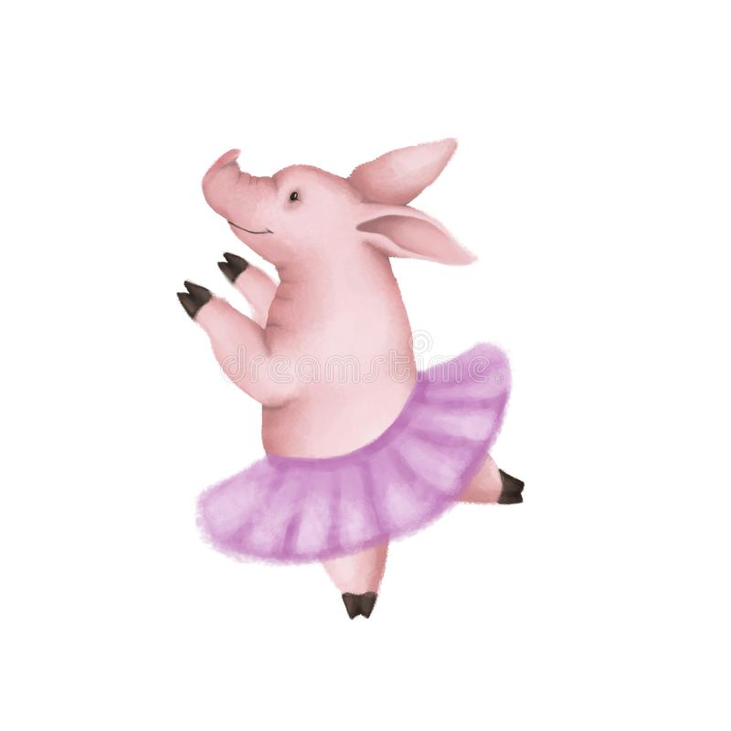 Cute pink pig ballerina. In a pink skirt dancing. Isolated on white background. symbol 2019 vector illustration