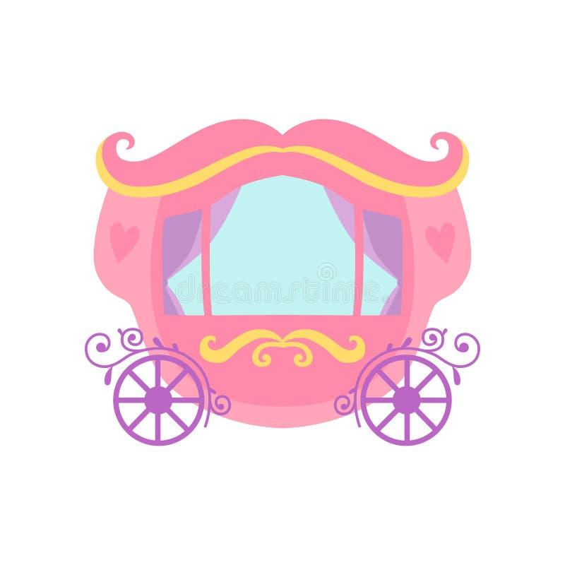 Cute Pink Princess Fairytale Carriage Cartoon Vector Illustration vector illustration