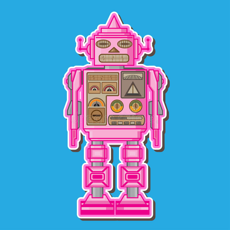 Cute Pink Robot Vector Design royalty free stock photos