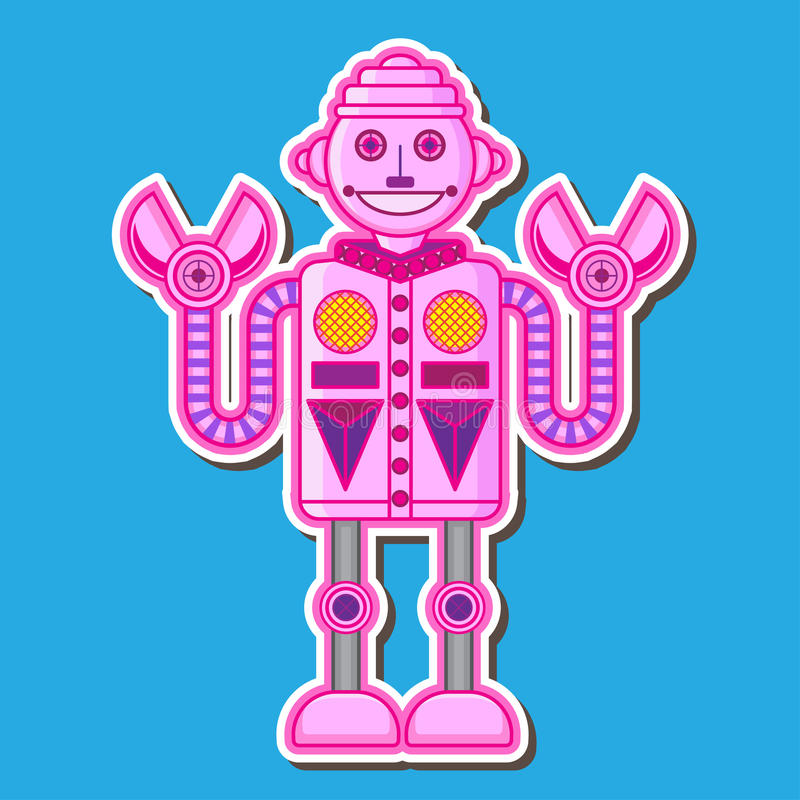 Cute Pink Robot Vector Design stock photos