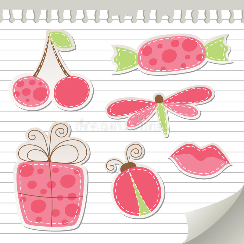 Download Cute pink stickers stock vector. Illustration of pink - 21504930