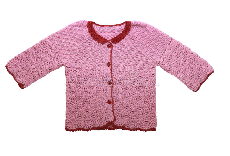 Cute pink sweater for the little girl. Isolated on white. royalty free stock image
