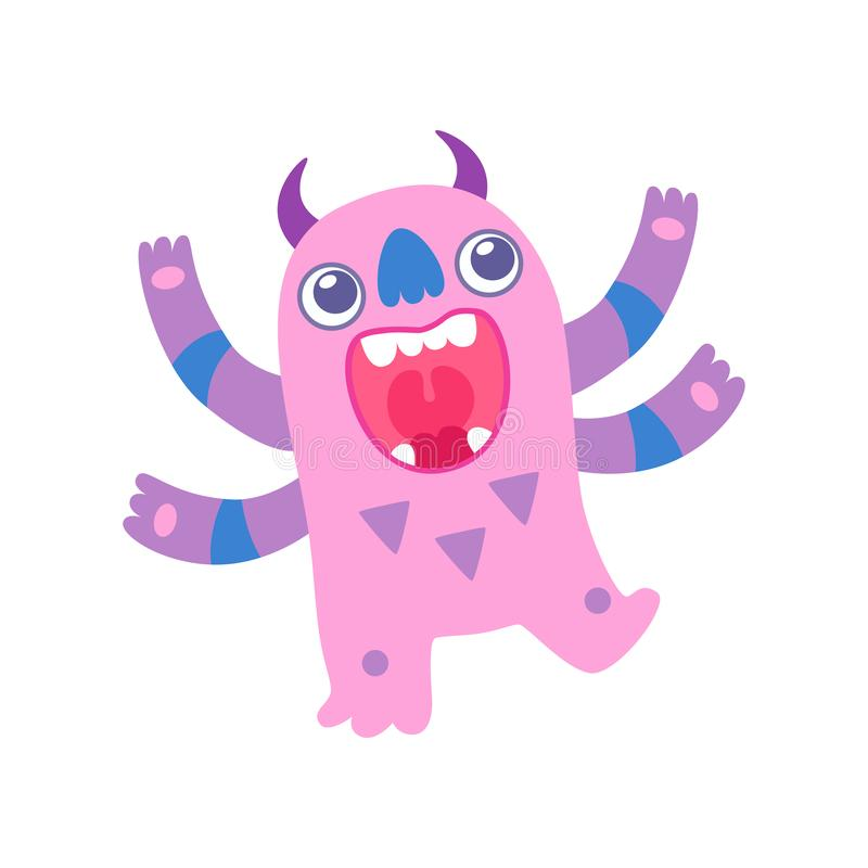 Cute Pink Toothy Monster with Big Mouth, Funny Alien Cartoon Character Fantastic Creature Vector Illustration stock illustration