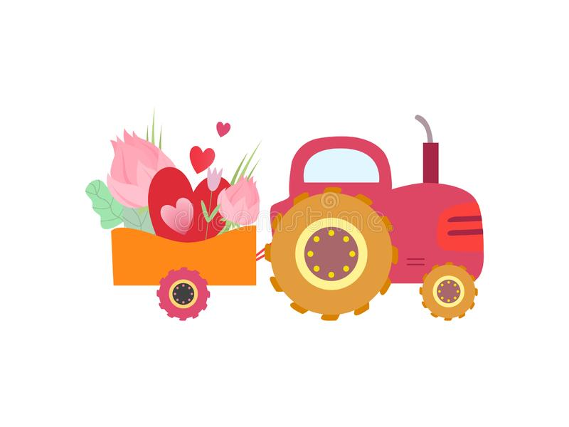 Cute Pink Tractor with Cart with Flowers and Heart Vector Illustration. On White Background stock illustration