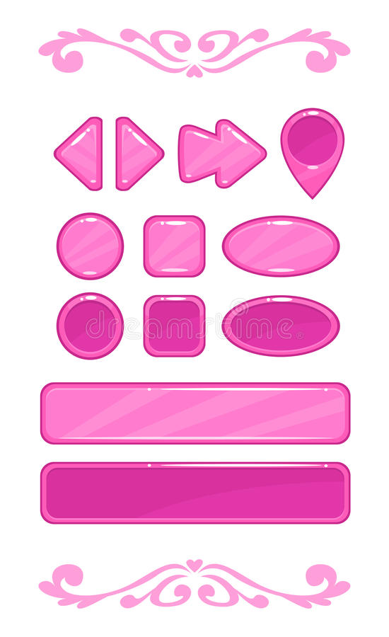 Cute pink vector game user interface. Different shape buttons set stock illustration