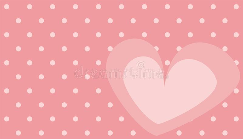 Cute pink vector heart with polka dots background stock illustration