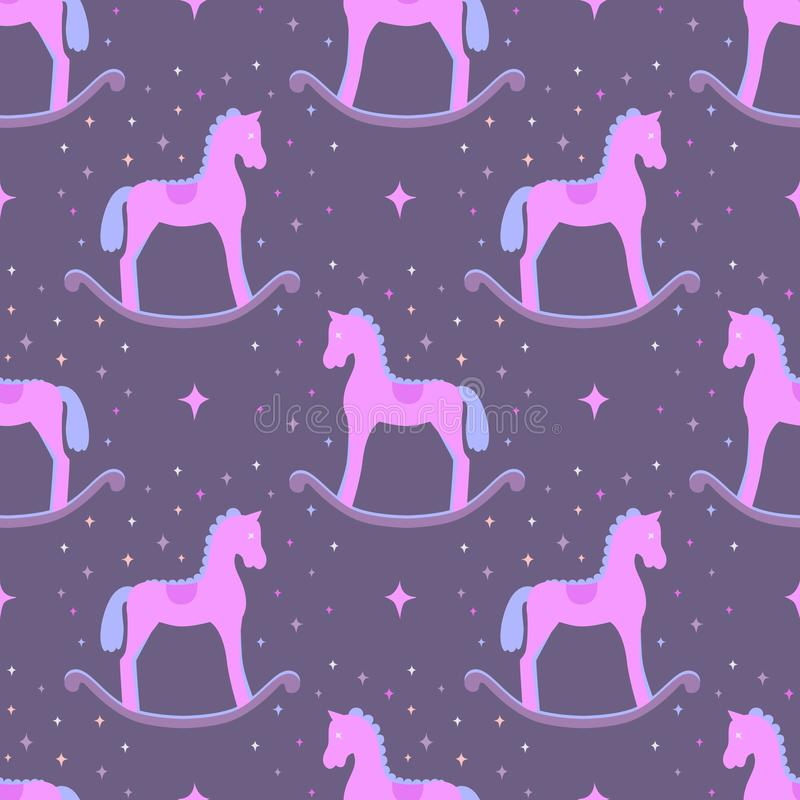 Cute pink vector rocking horses isolated on violet background. Baby toy seamless pattern vector illustration