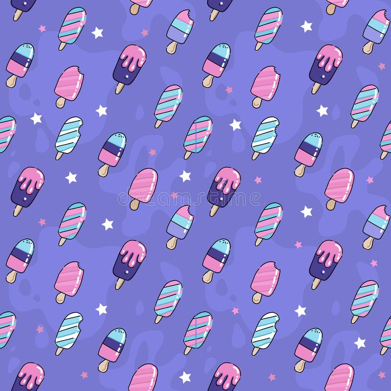 Cute pink and violet seamless pattern with ice cream lolly, popsicle, lollipop, stars and esckimo.Vector background for textile, royalty free illustration