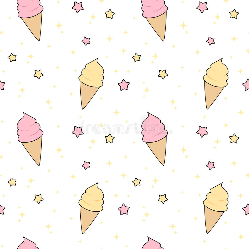 Download Cartoon Ice Cream Wallpaper Gallery: Cute Pink And Yellow Cartoon Ice Cream With Stars Seamless