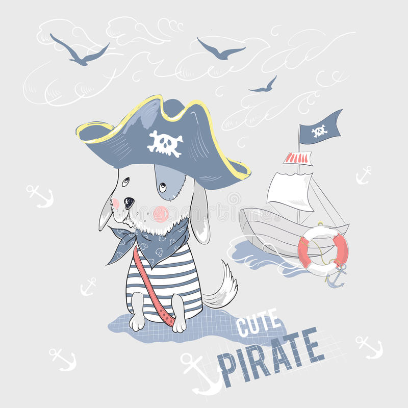 Cute pirate dog and ship with slogan. stock illustration