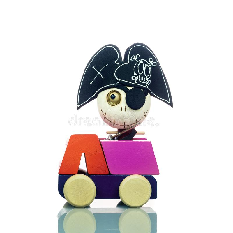 Cute pirate ghost toys on the car isolated on white. Halloween d royalty free stock photos