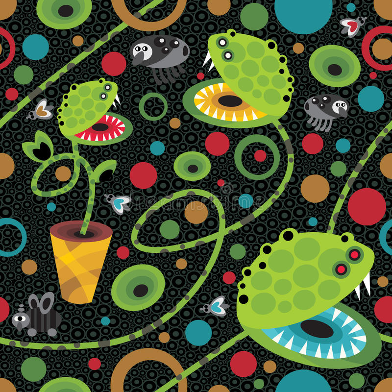 Cute plant monsters texture. royalty free illustration