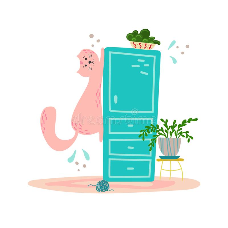Cute playful cat on the wardrobe in cartoon flat style. Hand drawn illustration with quote vector illustration