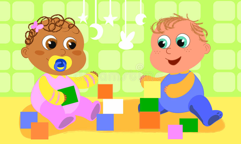 Cute playing babies vector illustration