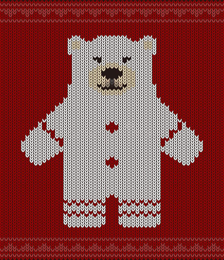 Cute Polar Bear On The Knitting Pattern Happy New Year Stock