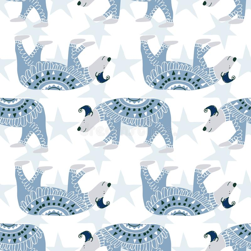 Cute polar bear. Seamless Vector pattern in hand draw style royalty free illustration