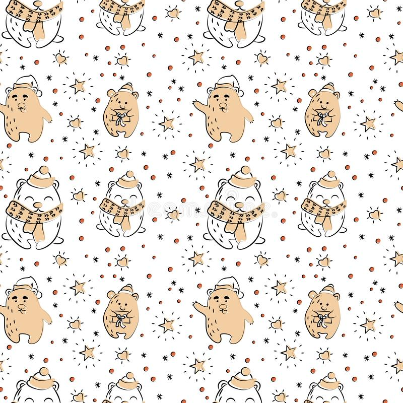 Cute polar bear seamless winter pattern vector illustration