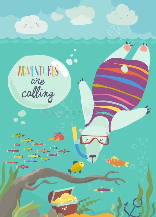 Cute polar bear snorkeling and looking at the fish vector illustration