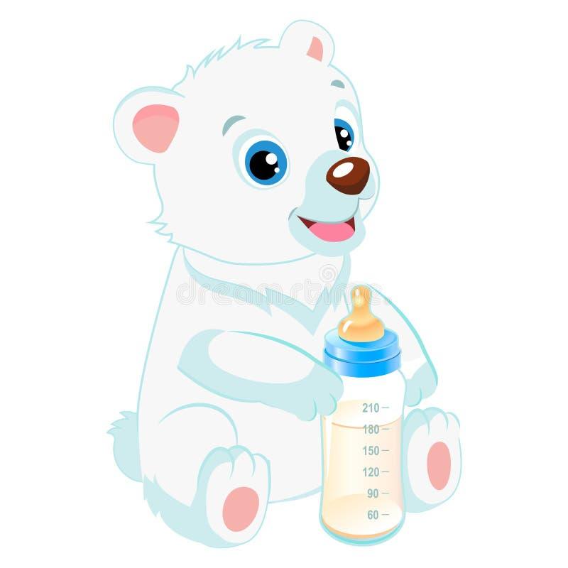Cute Polar Teddy Bear With Feeding Bottle. Healthy Eating For A Healthy. Cute Polar Teddy Bear With Feeding Bottle Cartoon Vector Character. Baby Feed Theme stock illustration