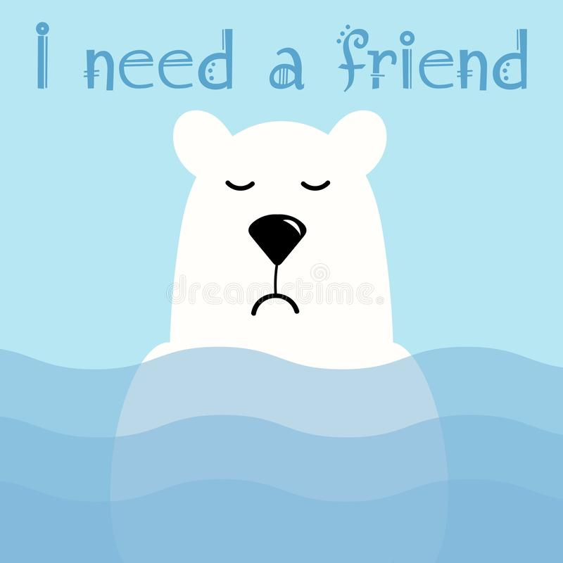 A cute polar white bear stands in the water. HE is sad he has no friends. Illustration for design of t-shirts, greetings, cards. royalty free illustration