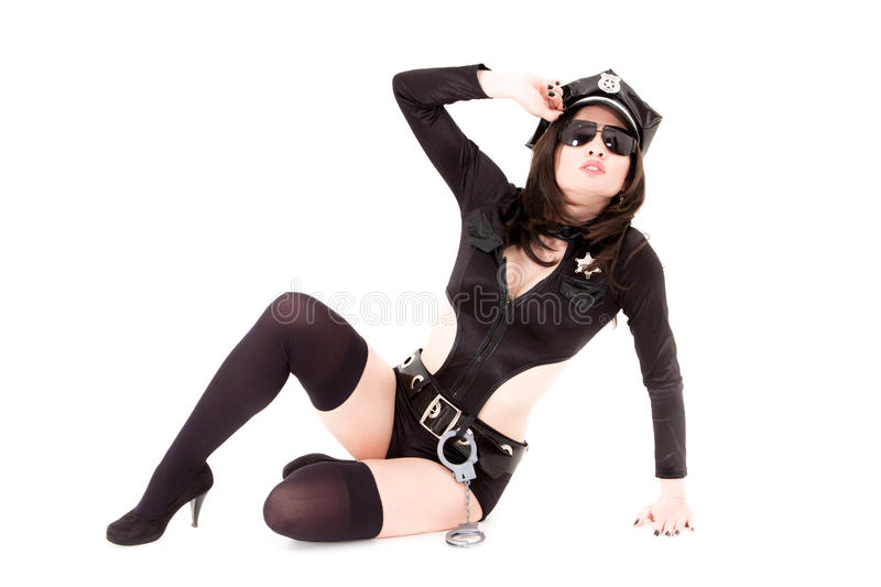 Download Cute Police Woman Sitting On A White Background Stock Photo - Image: 26861640