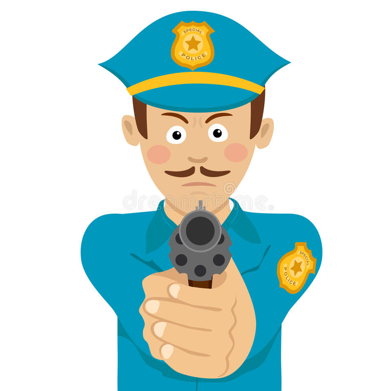Cute policeman with mustache holding a gun in one hand aiming at you stock illustration