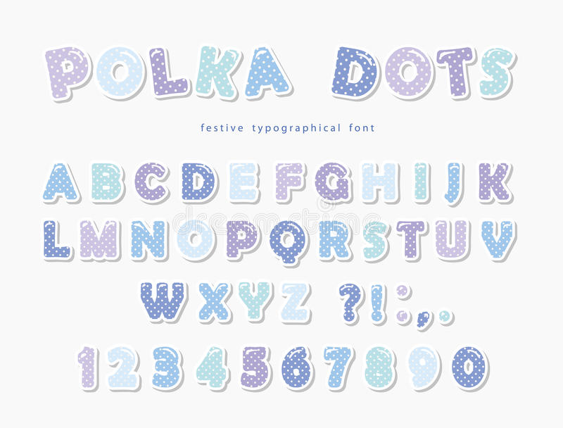 Cute polka dots font in pastel blue. Paper cutout ABC letters and numbers. Funny alphabet. Vector stock illustration