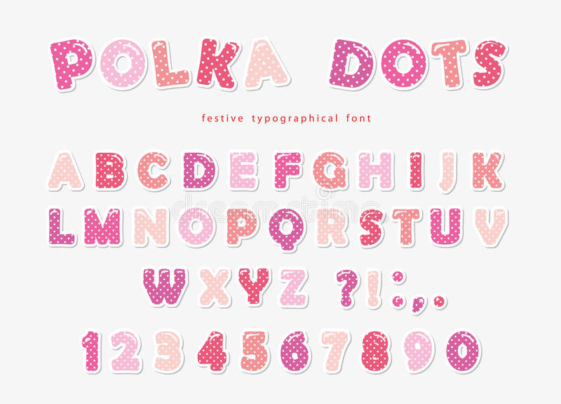 Cute polka dots font in pastel pink. Paper cutout ABC letters and numbers. Funny alphabet for girls. Vector stock illustration