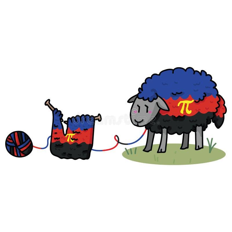 Cute poly amorous sheep cartoon  illustration motif set. Hand drawn isolated knitting yarn elements clipart for pride. Poly amorous sheep cartoon  illustration royalty free illustration