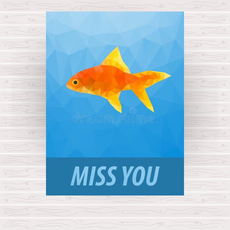 Cute polygonal goldfish vector design for card stock illustration
