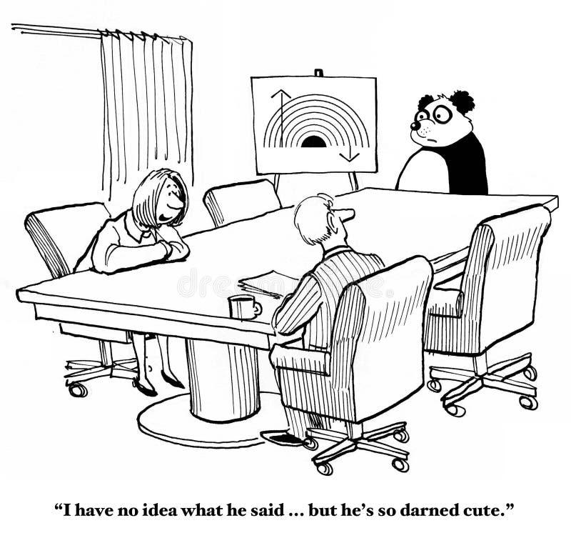 Cute, But Poor Communicator. Business cartoon about a panda that is cute, but a poor communicator stock illustration