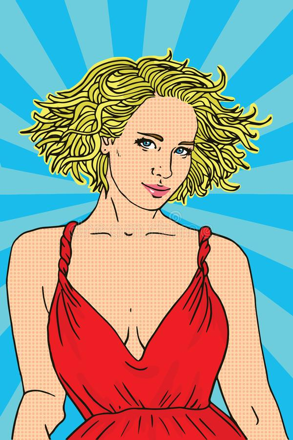 Cute pop art fashion woman in dress with glasses. Pop art style vector illustration