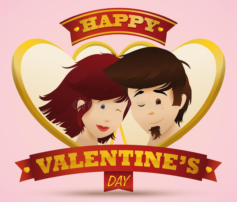 Cute Portrait of Boy and Girl In Love with Golden Hearts and Ribbons, Vector Illustration royalty free stock images