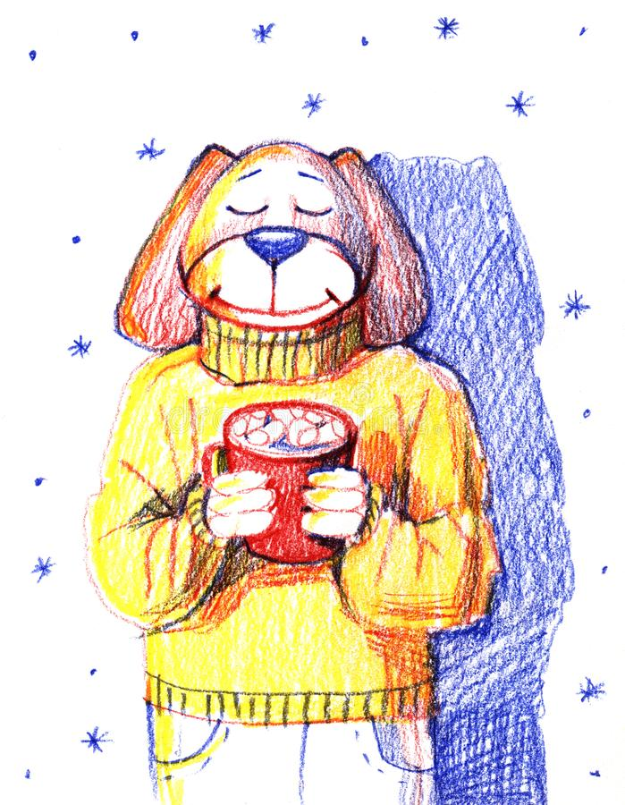 Cute portrait dog wearing sweater and holding cup of hot chocolate. Greeting card, postcard, party invitation, poster stock illustration