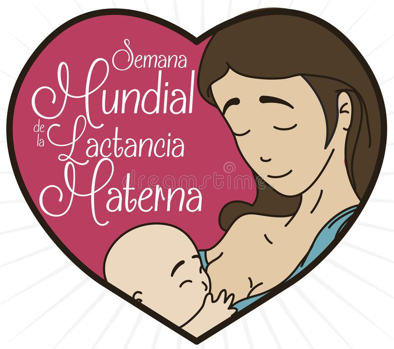 Portrait in Heart Shape to Celebrate World Breastfeeding Week, Vector Illustration. Cute portrait in heart shape with lovely mom and baby inside of it and stock illustration