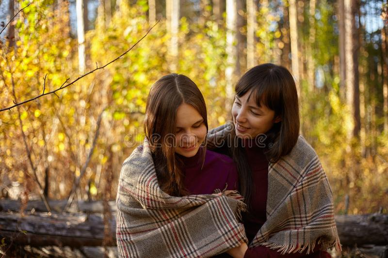 Cute portrait of mother and daughter in the autumn forest. stock photo